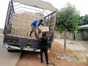 Bibles unloaded in Navrongo