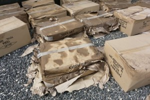 Boxes damaged by water